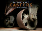 Vtg FACTORY CART CASTER SET, Industrial Coffee Table Steel Cast Iron Metal Wheel