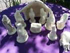 Beautiful Vintage Ivory Ceramic Nativity Set 13 pieces from 1970s