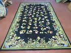 5' X 8' Abstract Hooked  Hand Tufted Wool Rug  Floral Flowers Nice Black