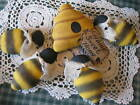 Primitive Summer Bee's and hive bowl fillers, ornaments, dolls, shelf sitters