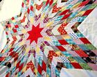 Vintage 40's Lone Star Quilt Top hand stitched diamond