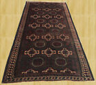 Hand Knotted Vintage Afghan Balouch Wool Area Rug 8 x 4 Ft