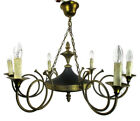 French Empire Pan Chandelier Green Tole Brass 6 arms Hollywood Regency trumpets
