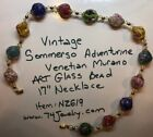 Vintage Colorful Venetian Sommerso Glass Bead 17 Necklace NZ619 74Jewelry