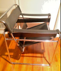 Vtg Wassily Breuer Style Mid Century Black Leather Chrome Chair From Estate Sale