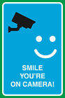 Smile You're On Camera Print Video Smiley Face Large Notice Sign, 12x18