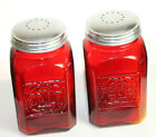 New Ruby Red Depression Style Glass Salt and Pepper Shakers Vintage Style Retro
