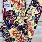 Multi Color Paisley Leggings Yellow Base ONE SIZE OS