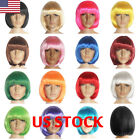 US WOMENS SHORT BOB WIG COLORED DRESS COSPLAY WIGS PARTY COSTUME Haloween Decor
