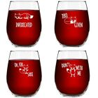 Funny Stemless Wine Glass Set  The Fox Series Pack of 4 Glasses Set  Infoxi