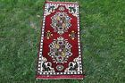Anatolian Hand Knotted Doormat Rug Two Medallion Red color Antique Carpet 2x3ft.