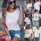 US Summer Women Casual Short Sleeve Loose T shirt Letter Print Graphic Tee Tops