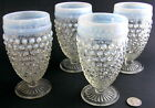 4 Anchor Hocking MOONSTONE White Hobnail Opalescent Footed Iced Tea Goblets
