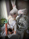 VERY PRIM AGED PLUSH BUNNY CARROTS AND RUSTY WATERING CAN~PFATT~