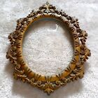 Vintage Italian Gilded Metal Oval Portrait Frame Fleur De Lis Scroll Picture Vtg
