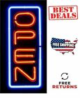VERTICAL NEON OPEN SIGN real glass tube blue  red