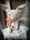 VERY PRIM AGED PLUSH VINTAGE LOOKING AMERICANA BUNNY~CUTTER QUILT HEART~PFATT~