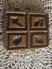 Primitive Wood Square Butter Mold Press Four Stamp Pattern