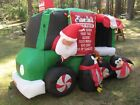 RARE CHRISTMAS SANTA CLAUS IN ANIMATED SNACK WAGON INFLATABLE GEMMY