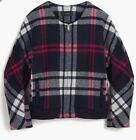 NEW JCREW $198 Plaid Wool Bomber Navy SizeL G8010 SOLDOUT!!