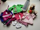 Lot of 13 AMERICAN GIRL DOLL Clothes Accessories Skateboard Goggles Cake