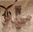 West Virginia Glass WV Snowy Holly Martini Pitcher and Glasses Set