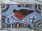 HAND MADE PRIMITIVE STYLE HOOKED Rug Pussy Willow And Robin Folk Art