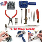 16 PCS Watch Repair Tools Kit Wrist Spring Pin Strap Link Back Opener Remover