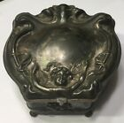 ANTIQUE  VICTOR SILVER CO. EARLY JEWELRY BOX - CUPID W/ARROWS GREAT PATINA