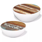 Furniture 2 Pcs Bowl Shaped Table Vintage-style Solid Reclaimed Wood