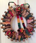 VTG Mexican Folk Art Hand Made Mexican People Dolls Shristmas Cloth Wreath 12""
