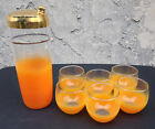 1950's Orange Blendo Cocktail Martini Shaker and Six Roly Poly Glasses
