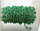 """12"""" Natural Micro Faceted GREEN Onyx SILVAR Plated Rosary Style Chain 3 TO 3.5MM"""