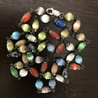 Vintage Sterling Silver Cats Eye 24 Long Beaded Lampwork Necklace Bead 268g