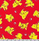 Pokemon Balls Pikachu Toss Red Robert Kaufman 100 Cotton Fabric By The Yard