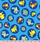 Pokemon Badges Character Toss Blue Robert Kaufman 100 Cotton Fabric By The Yard