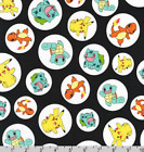 Pokemon Badge Character Toss Black Robert Kaufman 100 Cotton Fabric By The Yard