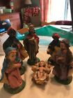 Vintage Italian Small Nativity Set 6 Pieces Hand Painted Pottery AS IS
