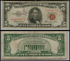1 1963 $ 5 DOLLAR RED SEAL  United States Note    LOT E738 TEAR IN THE BIIL