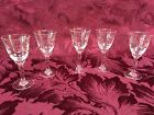 Set of 5 Vintage Wheat pattern Etched Crystal Cordial Glasses