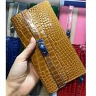 WOMEN KELLY COW LEATHER ALLIGATOR PATTERN WELLET CROCODILE PRINT LONG WELLET