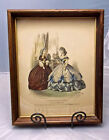 Victorian Shadowbox Frame with French Fashion Print, Hand Colored