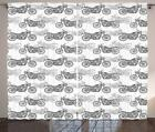 Motorcycle Curtains 2 Panel Set for Decor 5 Sizes Available Window Drapes