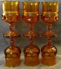 MINT Set of 6 Indiana Glass Co Kings Crown 5 Oz Wine Goblets Amber Thumbprint