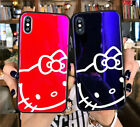 Cute Hello kitty Glossy Glass Case Cover Defender For Apple iPhone 7 8 X Plus