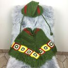 Handmade Crochet Knitted Poncho & Beanie Hat Set Green Red Yellow Square 2T-4T