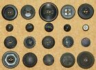 Antique Victorian Pressed Horn Buttons FLOWERS Fabric Pictures Paris Back