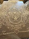 Vintage French tambour net lace bedspread coverlet