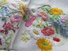Vintage Hand Embroidered Tablecloth-FABULOUS RAISED FLOWERS
