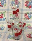 Vintage Libbey Triple Cherry Design Juice Glasses Set of 4